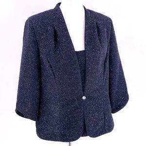 ALEX EVENINGS Charcoal Gray Sparkle Top/Jacket XL